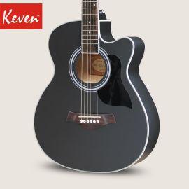 凯文吉他40寸黑色民谣吉他木吉他电箱琴初学者入门男女学生用琴乐器