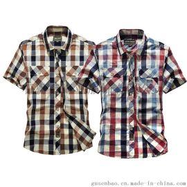 新款纯棉男式短袖衬衫 格子休闲纽扣衬衫 休闲商务衬衫
