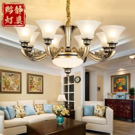 欧式吊灯简欧锌合金仿铜客厅吊灯美式别墅复式楼复古大气餐厅卧室灯具