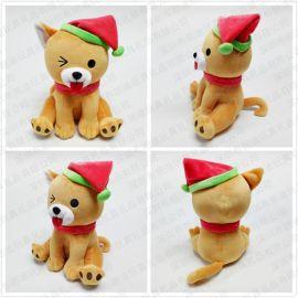 毛绒玩具礼品定做 景区吉祥物圣诞帽狗狗公仔 个性玩偶来图定制
