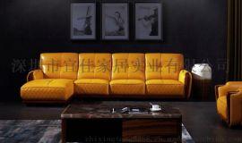 知行堂 簡約現代活力時尚黃小戶型高仿真皮沙發紅木底架進口鬆木內架 客廳沙發 F008
