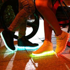 外贸爆款厂家直销发光鞋led高帮板鞋夜光灯鞋USB充电童鞋