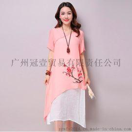 夏季新款 时尚假开领 淡雅刺绣印花 复古民族风假两件棉麻连衣裙中长裙