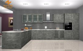 上海偉詢石灰色仿巖石紋理進口雙飾面櫥櫃門板T-6046