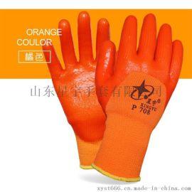 星宇手套P708防水防油冬季加絨保暖尼龍毛圈PVC浸膠勞保手套