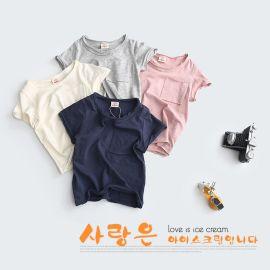 2016夏季新款儿童短袖 韩版纯棉T恤 外贸卷边童装