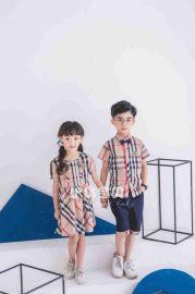 护岛宝贝幼儿园园服男女童新款色织格子儿童夏季套装校服