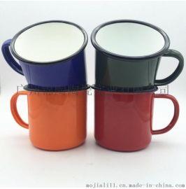 特厚彩色杯子搪瓷马克杯欧式水杯办公室茶缸 彩色搪瓷创意水杯