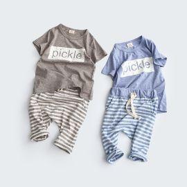 韩版纯棉儿童套装 中小童两件套 条纹裤子童装