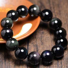 珠宝礼品手链系列批发 正品彩虹眼黑曜石手链 水晶手串 支持一件代发