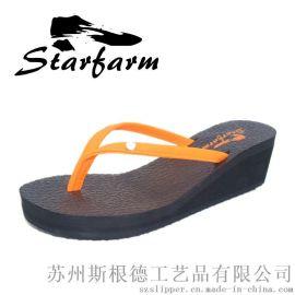 坡跟防水涼拖鞋女人字拖夾腳女夏防滑女EVA 批發
