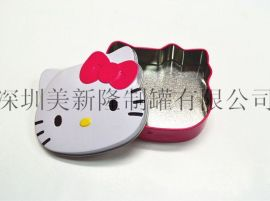 迪士尼貓頭型鐵盒 玩具鐵盒 五角形首飾盒 異形罐