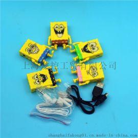 卡通MP3播放器 插卡MP3学生迷你海绵宝宝MP3带数据线耳机盒装新款