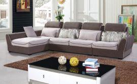 客厅休闲布艺沙发 实木沙发 简约时尚转角贵妃沙发