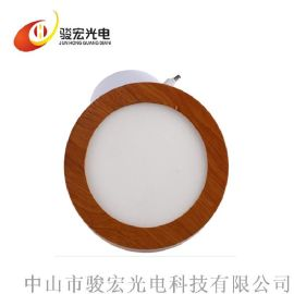 led明装面板灯 明装筒灯方形深色木纹节能面板灯 中山LED厂家直销