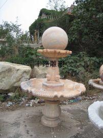 石雕风水球|晚霞红雕刻风水球水景摆件
