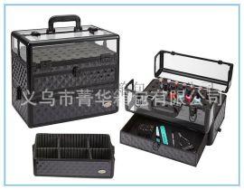 黑色水立方透明壓克力27孔指甲油箱鋁合金收納美容箱JH548