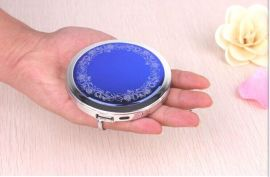 新款CD纹圆镜子移动电源 图文可定制圆镜子充电宝厂家