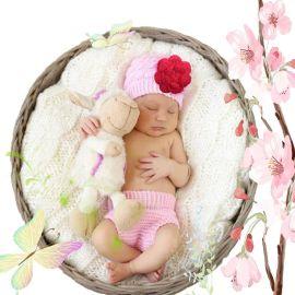 新款新生儿针织帽婴儿礼盒套装批发 宝宝针织裤儿童摄影服装厂家