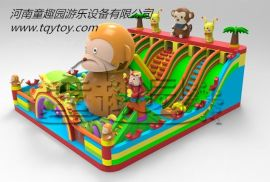 童趣園廠家新款 猴子大世界充氣滑梯 可根據場地訂做