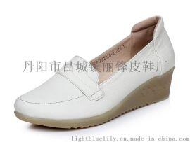 2014-2春秋坡跟廠家直銷OEM白色護士 淺口女單鞋防滑孕婦鞋 女鞋