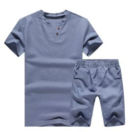 古森豹男士套装 修身棉麻套装 短袖套装 五分裤 家居服