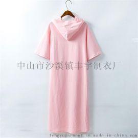 定做新款夏装纯棉平纹女式纯色连衣裙短袖连帽T恤