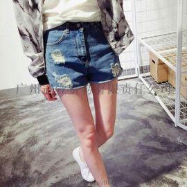 韓版新款 水洗磨破百搭高腰卷邊提臀 牛仔熱褲短褲
