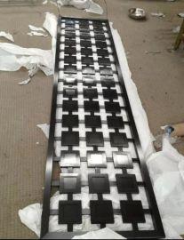 方块形拼接黑钛不锈钢屏风