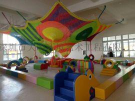 廣東商場室內彩虹網  彩色攀爬繩網  彩虹樹遊樂設備
