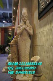 合肥仿砂岩泰式女性雕塑别墅小区砂岩泰国女人跪地手托盘摆设定做