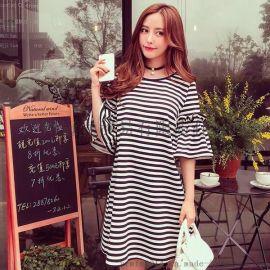 韓版時尚條紋印花 寬鬆大碼喇叭袖休閒連衣裙