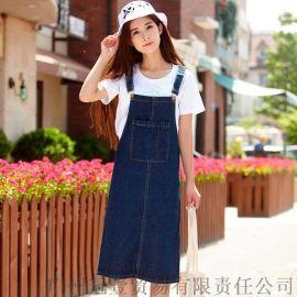 日韩小清新背带裙 简约纯色大口袋时尚背带牛仔裙修身吊带裙