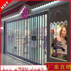 深圳订制水晶折叠门 弧形侧向推拉门 商场防尘防盗门