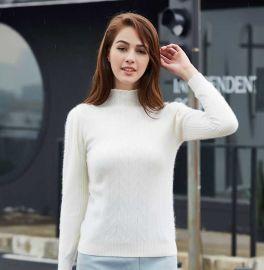 贵群羊绒 羊绒衫定制 批发 新款女士白色套头羊绒衫 针织衫 羊毛衫
