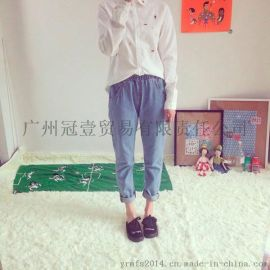韩版新款时尚纯色 松紧腰休闲宽松百搭牛仔裤 学院风直筒裤九分裤