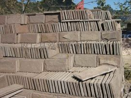 供应天然棕色石材外墙砖,蘑菇石