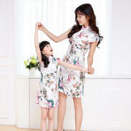 萌宝宝3061母女旗袍夏季新款女童旗袍中国风亲子装