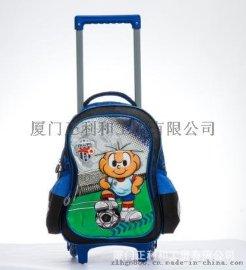 一件代發兒童拉杆書包卡通時尚拖輪包色丁帶輪子學生書包足球包包