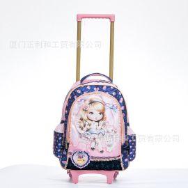 一件代发儿童包包卡通芭比公主幼儿园小学生拉杆书包女童女生书包