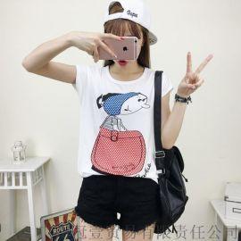 韩版新款 可爱卡通蝙蝠袖T恤 宽松百搭上衣t恤【女装大量现货批发】