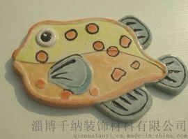 淄博千纳陶艺手工艺术装饰釉面砖瓷砖卫浴内墙砖彩鱼系列