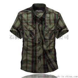 战场短袖 新款男士休闲格子衬衫 时尚休闲男士条纹衬衫 衬衫批发
