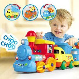 乐美佳19052B宝宝儿童磁力小火车轨道玩具电动过山车套装益智1-3岁早教