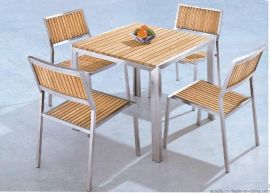 户外休闲餐桌椅 铝合金仿木桌椅 塑木方形台