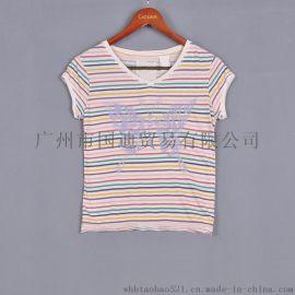 2017夏季款纯棉条纹t恤女体恤修身打底衫女装上衣
