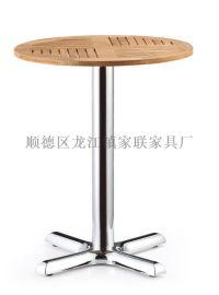 【家联家具】OT-016高档不锈钢户外休闲野餐塑木柚木餐桌可拆