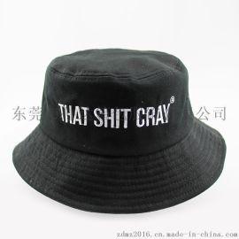 仲达定做韩版男女士盆帽 黑色纯棉斜纹渔夫帽 字母logo刺绣渔夫帽