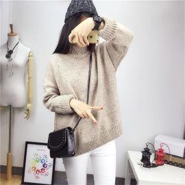 韓版寬鬆毛衣女套頭半高領短款冬季加厚秋冬打底衫學院風學生上衣