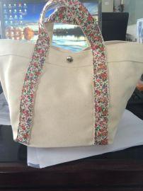 纯色手提包拼接小碎花手提包 购物包